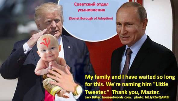 Trump and Cushner. Soviet baby adoption charade. 2017. Jack Ritter. www.houseofwords.com